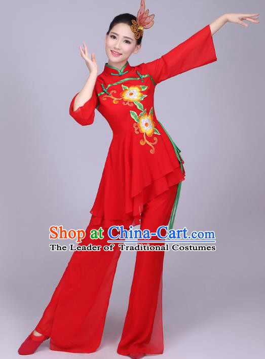 Traditional Chinese Yangge Dance Embroidered Peony Costume, Folk Fan Dance Red Uniform Classical Dance Clothing for Women