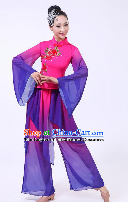 Traditional Chinese Yangge Dance Purple Costume, Folk Fan Dance Uniform Classical Umbrella Dance Clothing for Women