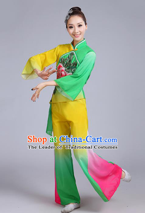 Traditional Chinese Classical Yanko Dance Embroidered Peony Green Costume, Folk Yangge Dance Uniform Drum Dance Clothing for Women