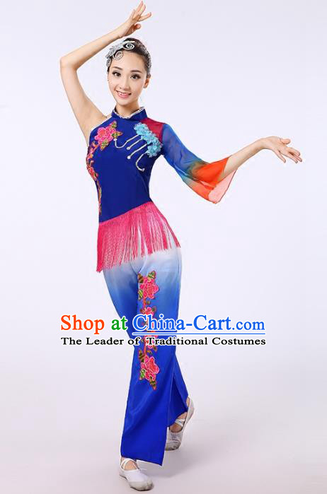 Traditional Chinese Classical Yanko Dance Embroidered Peony Blue Costume, Folk Yangge Dance Uniform Drum Dance Clothing for Women