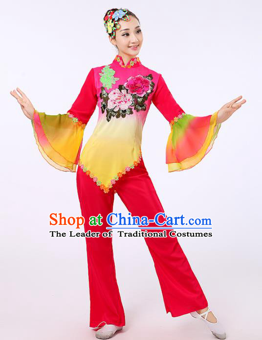 Traditional Chinese Classical Yanko Dance Embroidered Peony Rosy Costume, Folk Yangge Dance Uniform Drum Dance Clothing for Women