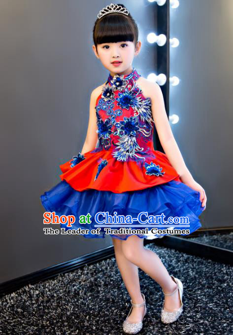 China Modern Dance Professional Competition Costume, Opening Dance Blue Embroidered Bubble Dress for Kids