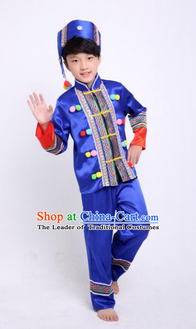 Traditional Chinese Miao Nationality Dance Costume, China Miao Minority Embroidery Blue Clothing for Kids