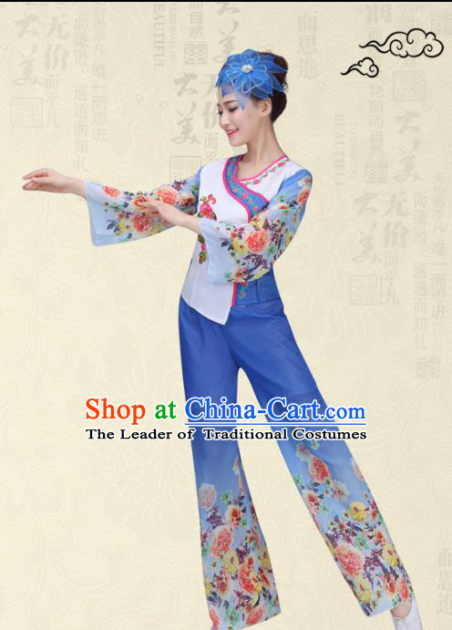Traditional Chinese Classical Yanko Dance Printing Flowers Costume, Folk Yangge Fan Dance Uniform Waist Drum Dance Blue Clothing for Women