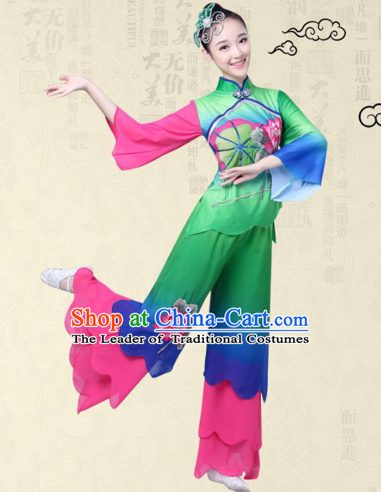 Traditional Chinese Classical Yanko Dance Printing Lotus Costume, Folk Yangge Fan Dance Green Uniform Waist Drum Dance Clothing for Women