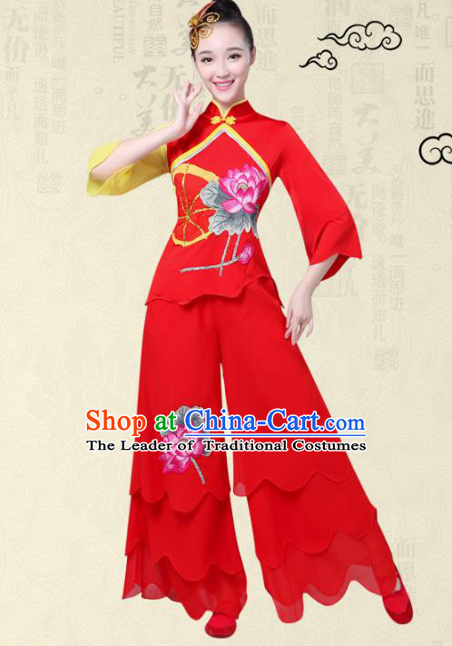 Traditional Chinese Classical Yanko Dance Printing Lotus Costume, Folk Yangge Fan Dance Red Uniform Waist Drum Dance Clothing for Women