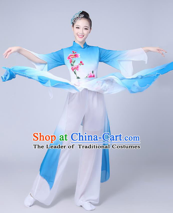 Traditional Chinese Classical Yanko Dance Embroidered Costume, Folk Fan Dance Blue Uniform Umbrella Dance Clothing for Women