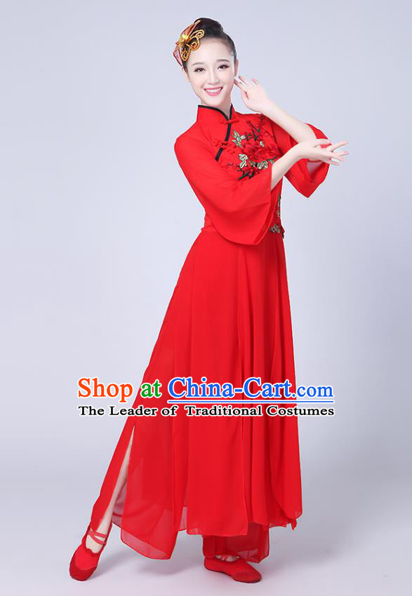 Traditional Chinese Classical Yanko Dance Embroidered Costume, Folk Fan Dance Red Uniform Umbrella Dance Dress for Women