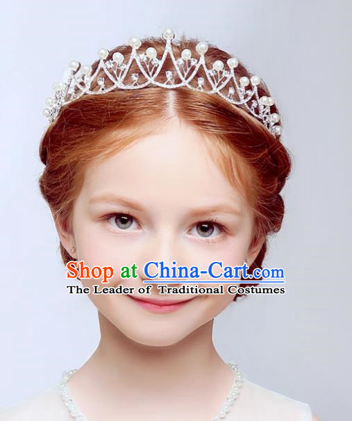 Handmade Children Hair Accessories Princess Headwear Model Show Girls Crystal Royal Crown for Kids