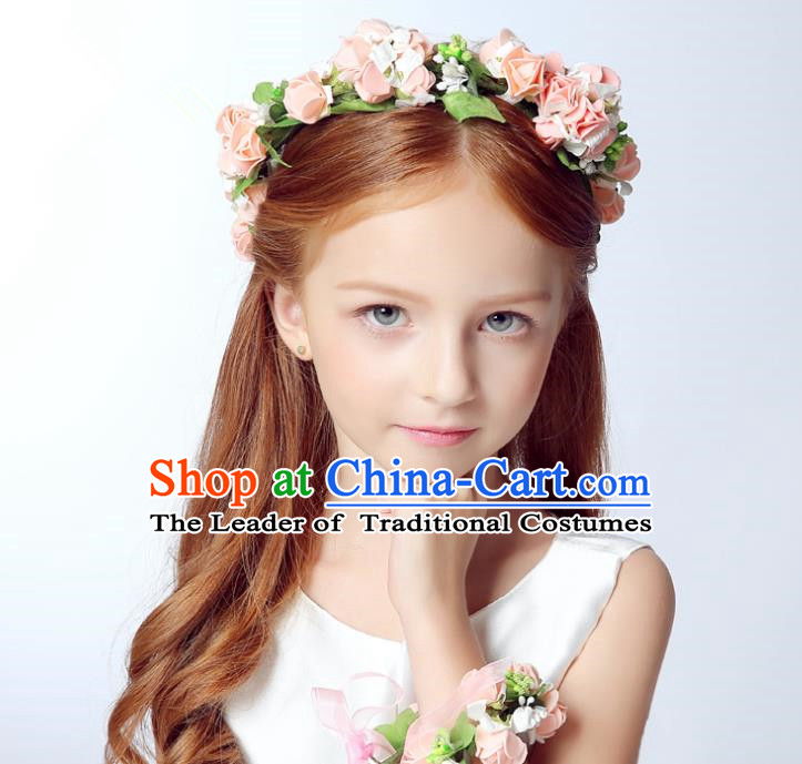Handmade Children Hair Accessories Princess Headwear Model Show Pink Flowers Hair Clasp for Kids