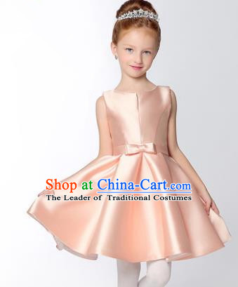 Children Modern Dance Flower Fairy Costume, Performance Model Show Clothing Princess Pink Short Dress for Girls