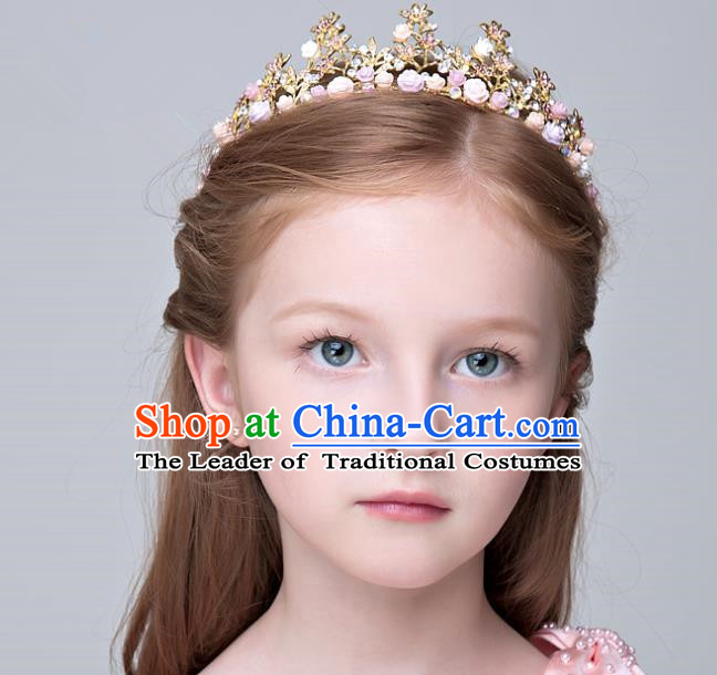 Handmade Children Hair Accessories Crystal Royal Crown, Princess Headwear Model Show Hair Clasp for Kids