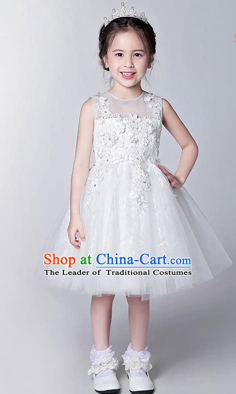 Children Modern Dance Flower Fairy Costume White Bubble Dress, Performance Model Show Clothing Princess Veil Dress for Girls