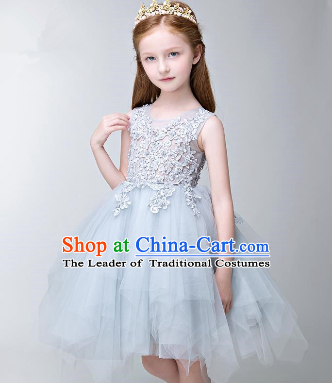 Children Modern Dance Flower Fairy Costume Blue Bubble Dress, Performance Model Show Clothing Princess Veil Dress for Girls