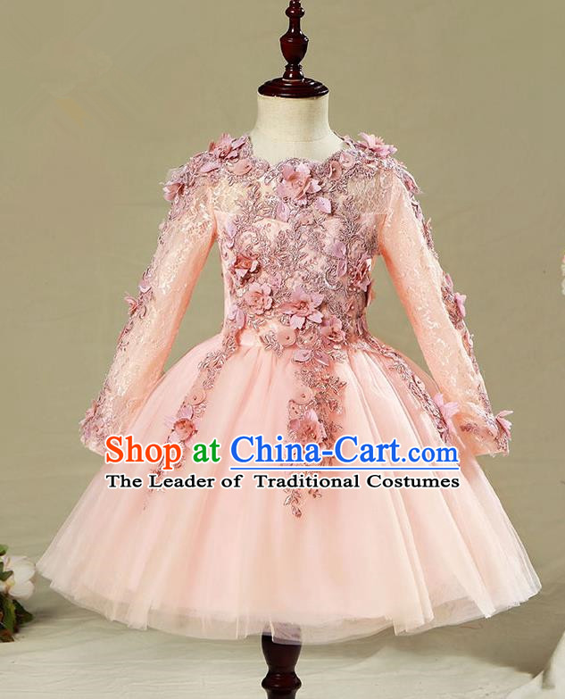 Children Modern Dance Flower Fairy Costume Pink Bubble Dress, Performance Model Show Clothing Princess Veil Short Full Dress for Girls