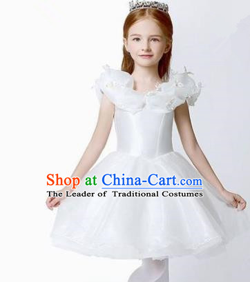 Children Modern Dance Flower Fairy Costume White Short Bubble Dress, Performance Model Show Clothing Princess Veil Full Dress for Girls