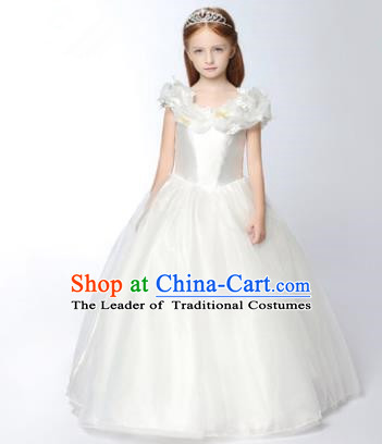 Children Modern Dance Flower Fairy Costume White Long Bubble Dress, Performance Model Show Clothing Princess Veil Full Dress for Girls