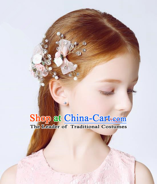 Handmade Children Hair Accessories Crystal Hair Stick, Princess Model Show Headwear Pink Bowknot Hair Clasp for Kids