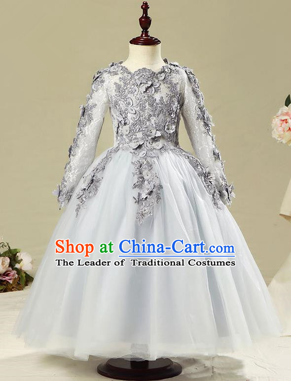 Children Modern Dance Flower Fairy Costume Grey Bubble Dress, Performance Model Show Clothing Princess Veil Long Full Dress for Girls