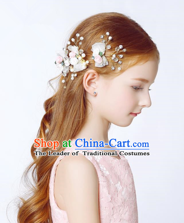Handmade Children Hair Accessories Crystal Hair Stick, Princess Model Show Headwear White Bowknot Hair Clasp for Kids