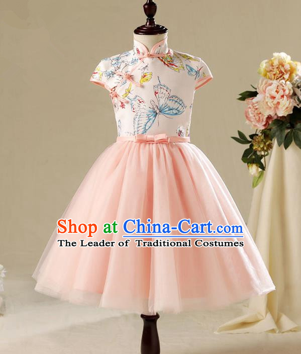 Children Modern Dance Costume Pink Cheongsam, Ceremonial Occasions Model Show Princess Veil Full Dress for Girls