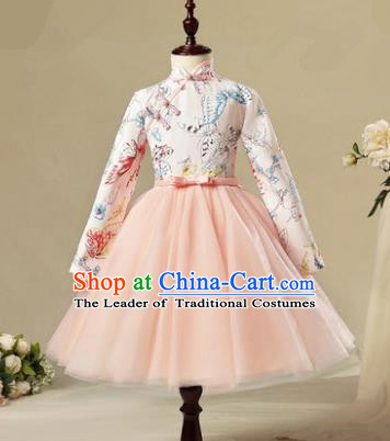 Children Modern Dance Costume Pink Long Sleeve Cheongsam, Ceremonial Occasions Model Show Princess Veil Full Dress for Girls