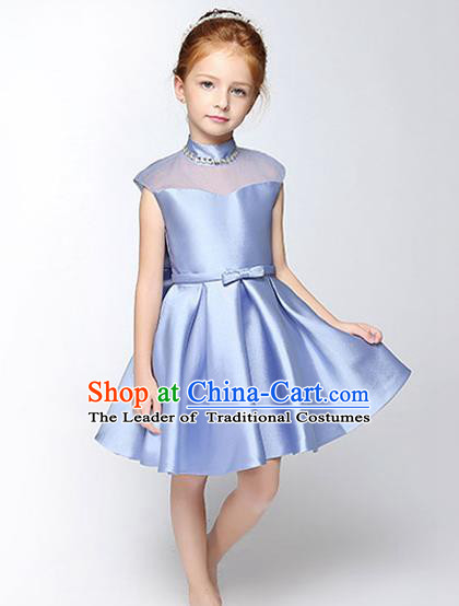 Children Modern Dance Flower Fairy Costume Blue Dress, Performance Model Show Clothing Princess Short Full Dress for Girls