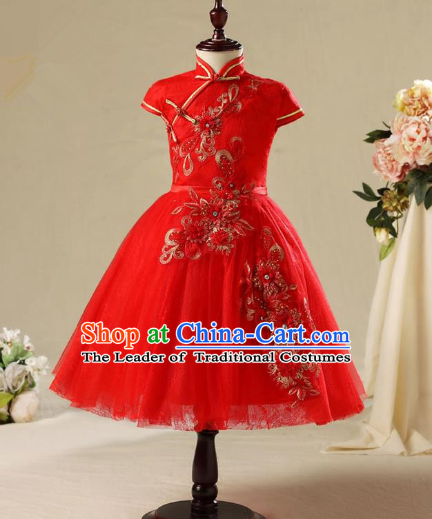 Children Modern Dance Costume Red Cheongsam, Ceremonial Occasions Model Show Princess Veil Full Dress for Girls