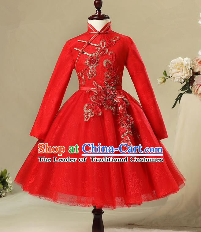 Children Modern Dance Costume Red Long Sleeve Cheongsam, Ceremonial Occasions Model Show Princess Veil Full Dress for Girls