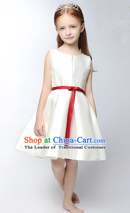 Children Modern Dance Costume White Satin Short Dress, Ceremonial Occasions Model Show Princess Full Dress for Girls
