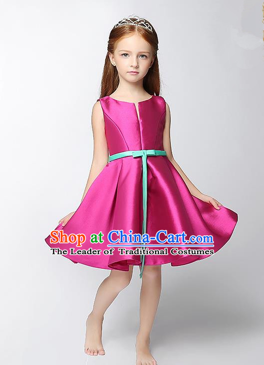 Children Modern Dance Costume Rosy Satin Short Dress, Ceremonial Occasions Model Show Princess Full Dress for Girls