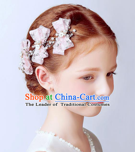 Handmade Children Hair Accessories Pink Bowknot Hair Stick, Princess Model Show Headwear Hair Clasp for Kids