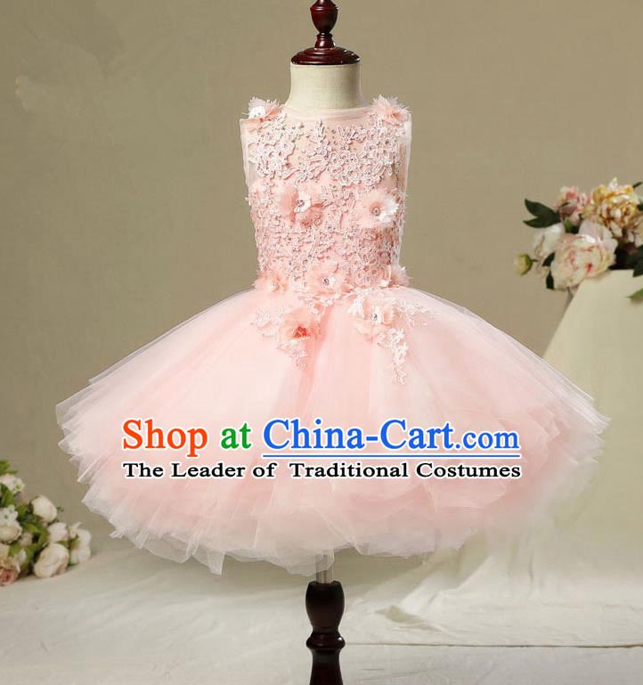 Children Modern Dance Costume Pink Short Bubble Dress, Ceremonial Occasions Model Show Princess Veil Full Dress for Girls