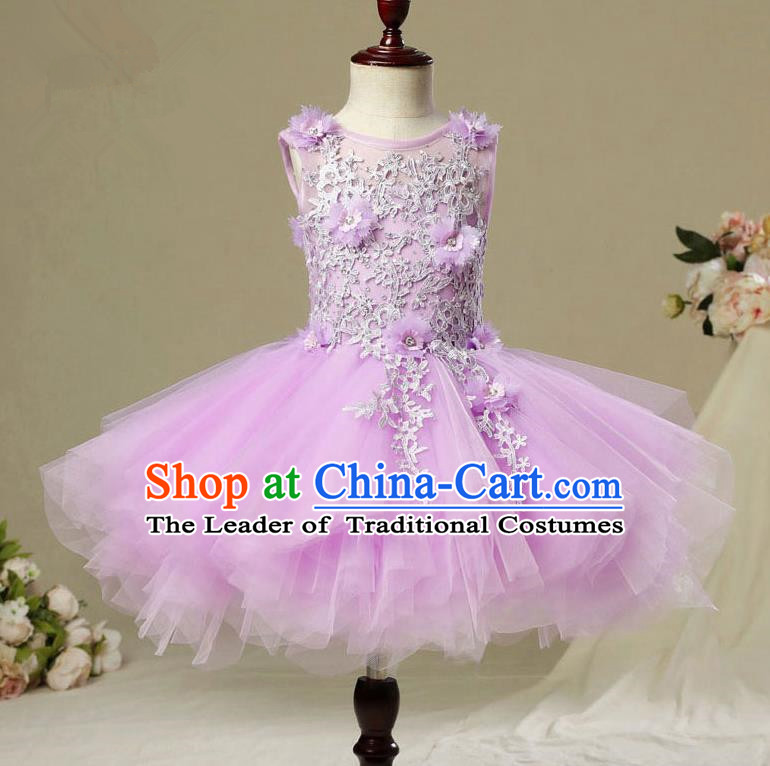 Children Modern Dance Costume Purple Short Bubble Dress, Ceremonial Occasions Model Show Princess Veil Full Dress for Girls