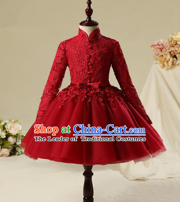 Children Modern Dance Costume Red Embroidery Bubble Dress, Ceremonial Occasions Model Show Princess Veil Full Dress for Girls