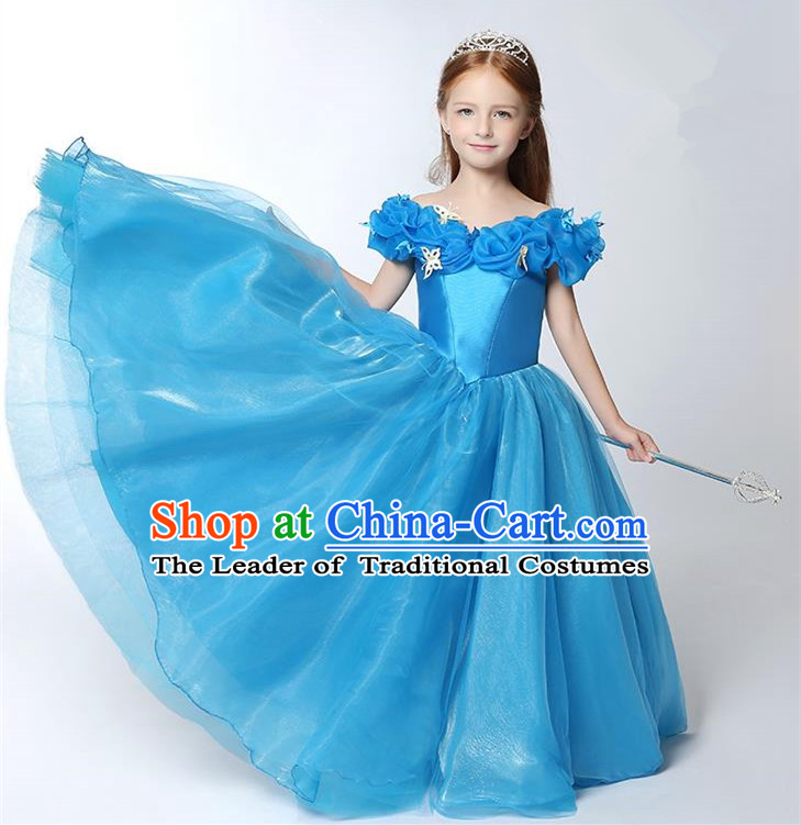 Children Modern Dance Flower Fairy Costume Blue Bubble Dress, Performance Model Show Clothing Princess Veil Full Dress for Girls