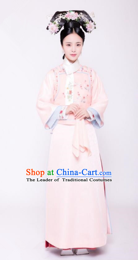 Traditional Chinese Ancient Palace Lady Costume, Qing Dynasty Manchu Princess Embroidered Clothing and Handmade Headpiece Complete Set