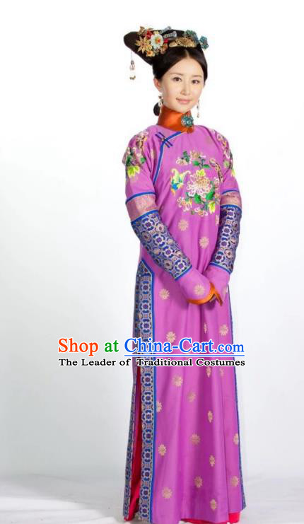 Traditional Ancient Chinese Imperial Consort Costume China Qing Dynasty Manchu Lady Dress Imperial Concubine Embroidered Clothing