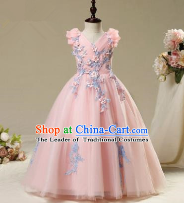 Children Modern Dance Costume Embroidery Pink Dress, Ceremonial Occasions Model Show Princess Veil Full Dress for Girls