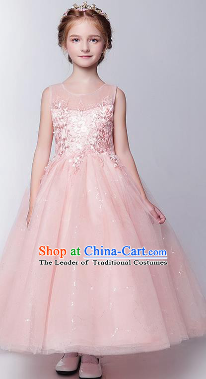 Children Modern Dance Costume Embroidery Christmas Pink Bubble Dress, Ceremonial Occasions Performance Princess Long Full Dress for Girls