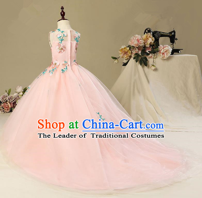 Children Model Show Dance Costume Embroidery Christmas Pink Trailing Dress, Ceremonial Occasions Catwalks Princess Full Dress for Girls