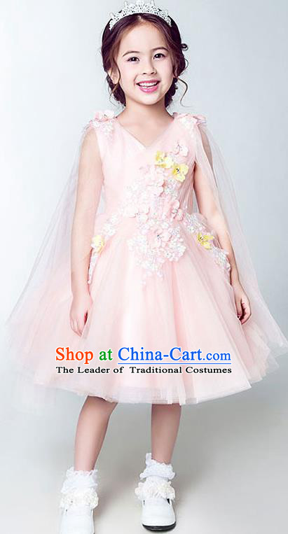 Children Model Show Dance Costume Embroidery Pink Bubble Dress, Ceremonial Occasions Catwalks Princess Short Full Dress for Girls