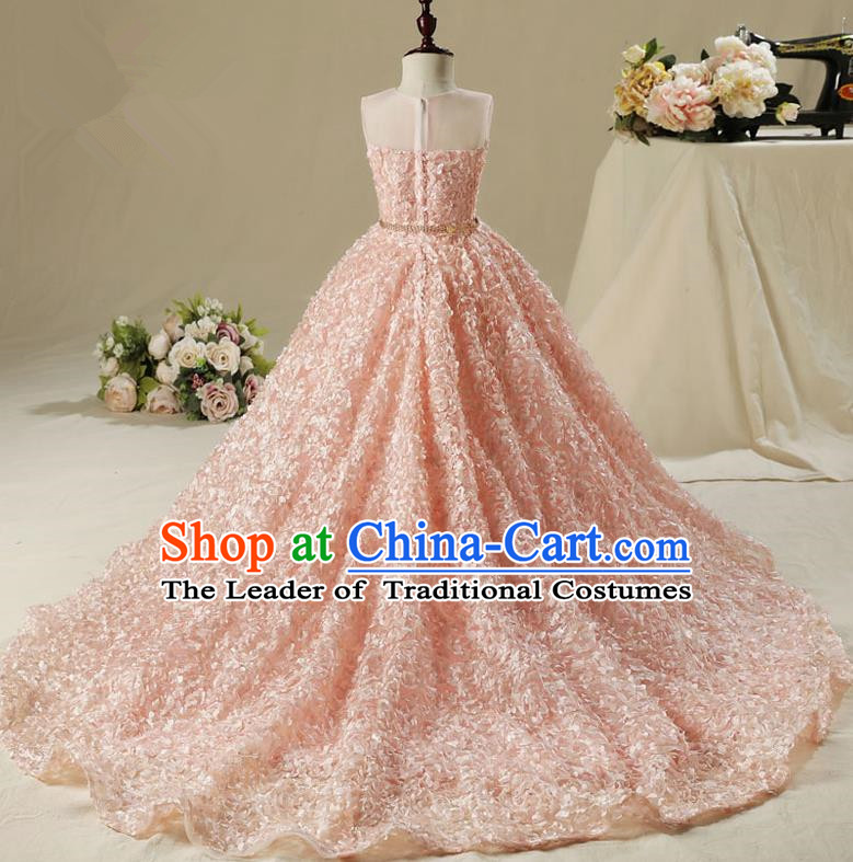 Children Model Show Dance Costume Pink Petals Trailing Dress, Ceremonial Occasions Catwalks Princess Pink Full Dress for Girls