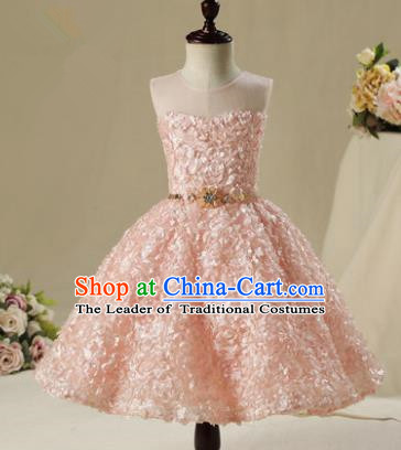Children Model Show Dance Costume Pink Petals Bubble Dress, Ceremonial Occasions Catwalks Princess Short Full Dress for Girls