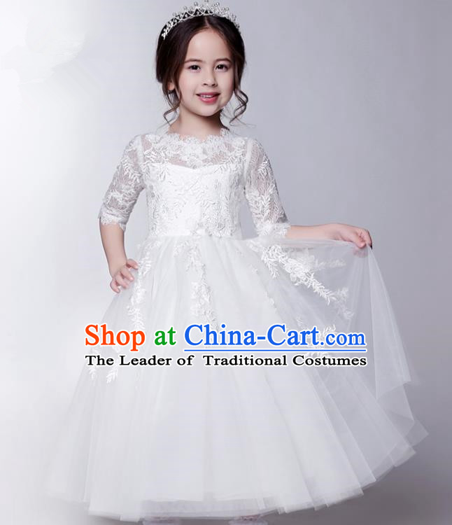 Children Model Show Dance Costume White Veil Lace Bubble Dress, Ceremonial Occasions Catwalks Princess Full Dress for Girls