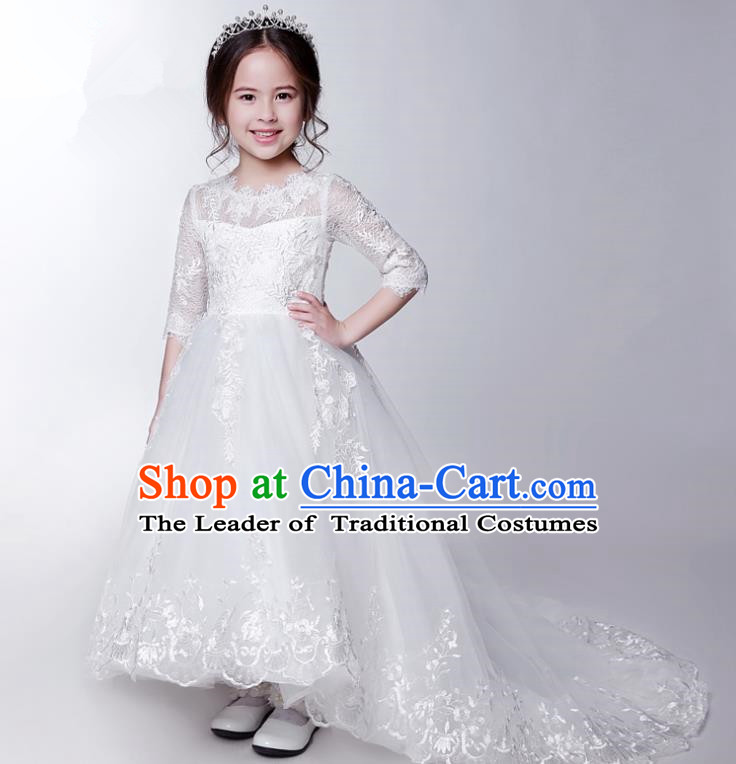 Children Model Show Dance Costume White Veil Trailing Dress, Ceremonial Occasions Catwalks Princess Full Dress for Girls