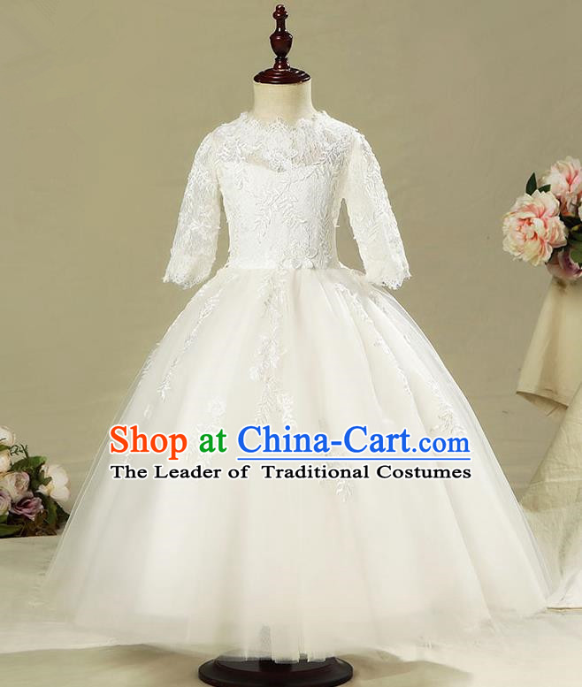 Children Model Show Dance Costume White Veil Dress, Ceremonial Occasions Catwalks Princess Full Dress for Girls