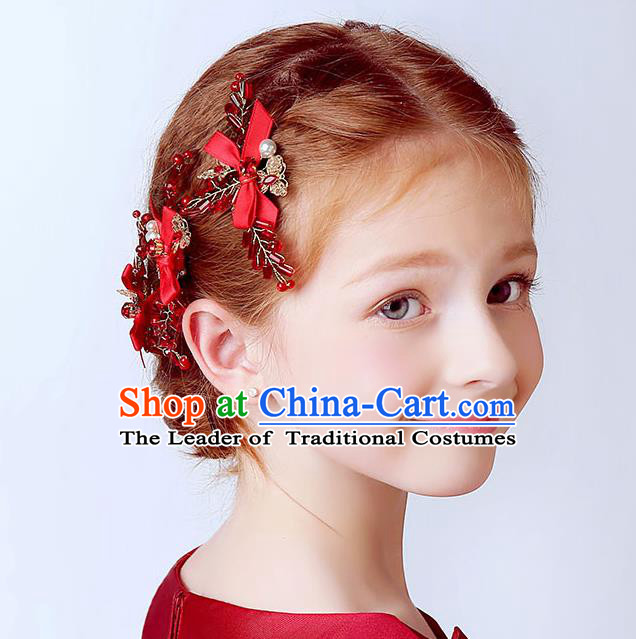 Handmade Children Hair Accessories Red Bowknot Hair Stick, Princess Halloween Model Show Headwear Hair Clasp for Kids