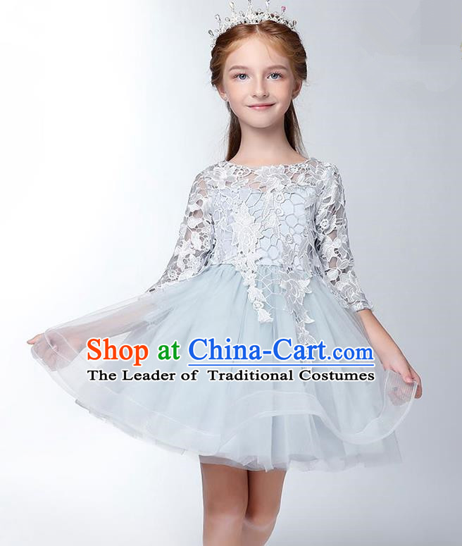Children Model Show Dance Costume Embroidered Blue Lace Dress, Ceremonial Occasions Catwalks Princess Full Dress for Girls