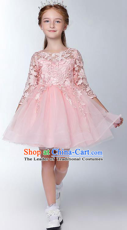 Children Model Show Dance Costume Embroidered Pink Lace Dress, Ceremonial Occasions Catwalks Princess Full Dress for Girls